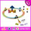 2015 Kids Play Train Railway Set Toy, Cheap Children Wooden Toy Railway Train Set Toy, Wooden Train Toy (WITH 28PCS) W04D003
