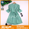 Fashion Women Vertical Stripe Clothing with Half Sleeve