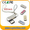 Mini Swivel USB Stick with Keychain Crystal USB 8GB
