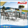 Stone Glass Aluminum Table and Chair in Mesh Fabric