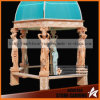 Statues Columns Yellow Marble Carving Gazebo Ns024