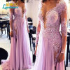 Lavender Lace Prom Party Gowns Lace Chiffon Evening Dresses Z5082