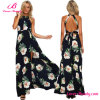 Navy Blue Open Back Floral Tie Waist Back Maxi Dress