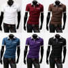 2017 Men Fashion Checked Collar Neck Polo T-Shirt with Pocket
