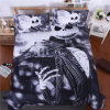 3D Reactive Printed Zombie Frighted Bedding Set (black and white)
