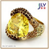 Wholesale Alloy Gold Plating Topaz Zircon Crystal Stones Fashion Jewelry Ring