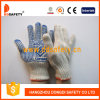 Ddsafety 2017 Cotton Gloves with Blue PVC Dots One Side