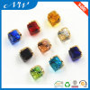 Colorful Square Design Metal Shank Button with Crystal for Shirt