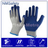 Nmsafety Iran Hot Sale Cheap Blue Latex Coated Safety Glove