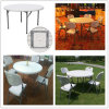 4ft Lightweight Portable Blow Mold HDPE Plastic Round Folding Leisure Garden Table (HQ-Y120)