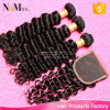 Brazilian Deep Wave with Closure 3 Hair Bundles with Lace Closures Brazilian Deep Curly Virgin Hair with Closure, 4PCS Lot