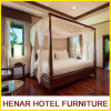 Hospitality Walnut Solid Teak Wood Four Poster Bed Furniture for Resort Hotel