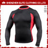 Fashion Black and Red Long Sleeves Rash Guards Mens (ELTRGI-10)