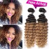 Ombre Brazilian Deep Wave Virgin Hair 3 Bundles Hair Weave Bundles 8A Unprocessed Virgin Curly Hair Blonde Brazilian Curly