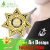 Fashion Golden Medal Engraved Zinc Zlloy Custom Metal Badge