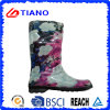 Fashion Flower PVC Rain Boots for Lady (TNK70018)
