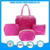 Red Satin Jacquard Weave Cosmetic Bag Makeup Bag Set Bags