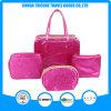 Red Satin Jacquard Weave Cosmetic Bag Makeup Bag Set Bags
