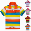Custom Polo Neck 100% Cotton Kids T Shirt with Stripe