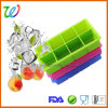 BPA Free 8 Cavity Whiskey Square Silicone Ice Cube Tray with Lid