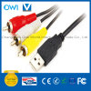 USB 2.0 a Male to 3 RCA Plugs Cable for PC