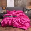 Home Textile 100% Pure Satin Silk Queen King 3 PCS 4 PCS Rose Pink Bedsheet Duvet Cover Bedding Set