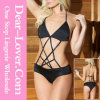 Black Strappy Open Crotch Teddy