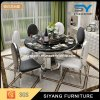 Chinese Stainless Steel Furniture Marble Round Dining Table