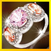925 Silver Ring with Color Zircon Inlaid Fashion Jewellery