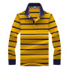 Customized High Quality 100% Polyester Man′s Long Sleeve Strips Polo Shirt