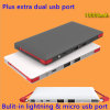 Built-in Lightning & Micro USB Charge Cable 10000mAh Ultrathin Portable Power Bank