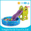 Plastic Indoor Kids Toys Slide, Basketball Hoop Standwith Inflatable Ball Pool for Sale with Great Price