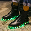 New Product Women and Men Leather Boots with LED Lights