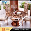 6 Persons Marble Top Round Gold Dining Table