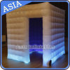 White Inflatable Photo Booth Room with LED, Inflatable Entertainment Air Tight Tent, Inflatable Cubic Tent for Events or Promotion
