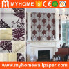 Damask Design Flock Wallpaper Wallcoverings for Building Materials