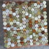 Red Mixed Green Onyx Penny Round Mosaic Tile