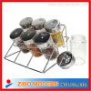 Wholesale Mini Glass Spice Jar Set with Metal Rack