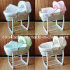 Baby Moses Basket with Fabric and Wooden Stand
