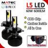 Auto Part, Super Bright L5 LED Headlght 12V 24V 60W 6000lm H4 H7 H11 H13 LED Headlight