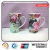 Flower Printing Tall Mug in Porcelain