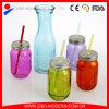 Beverage Bottle Mason Jar Drinking Glass with Handle
