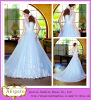 Latest Style 2014 New Model Floor Length Deep V-Neck Light Blue Wedding Dress Princess Style (WD11)