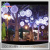 3D Outdoor Large Christmas Ball Metal Sculpture LED Decoration Light
