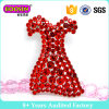 Red Rhinestone Dress Shape Brooch for Wedding Invitations