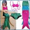 3PCS Kids Mermaid Tail Swimmable Swimwear Swimsuit Kids Bikini