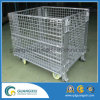 Warehouse Storage Steel Wire Mesh Container with Casters