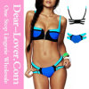 Zip Decor Color Block Blue Bikini Set
