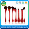 2017 Free Sample 10PCS Synthetic Hair Plastic Handle Thin Waist Makeup Brush Set