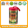 Cylindrical Gift Tin Box Metal Can Christmas Tin with String
